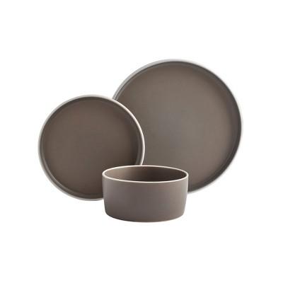 12pc York Dinnerware Set Brown - Tabletops Gallery