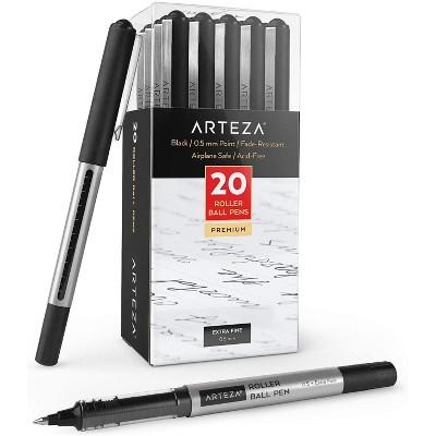 Arteza Roller Ball Pens, Black, Extra Fine 0.5 mm - Set of 20