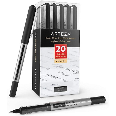 ARTEZA Roller Ball Pens, Black, Extra Fine 0.5 mm - Set of 20 - image 1 of 4