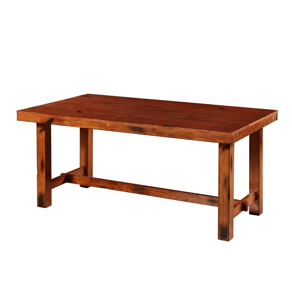 Distressed Dark Oak Wood Kitchen Dining Table - Saracina Home, Rusted Red/Terracotta
