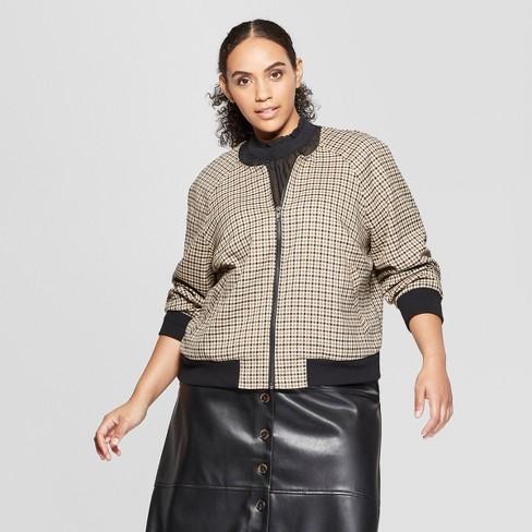 7d87d8e812f Women s Plus Size Plaid Bomber Jacket - Who What Wear™ Yellow Black