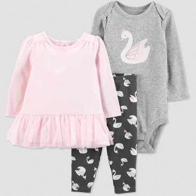 Baby Girls' 3pc Swan Set - Just One You® made by carter's Pink 9M
