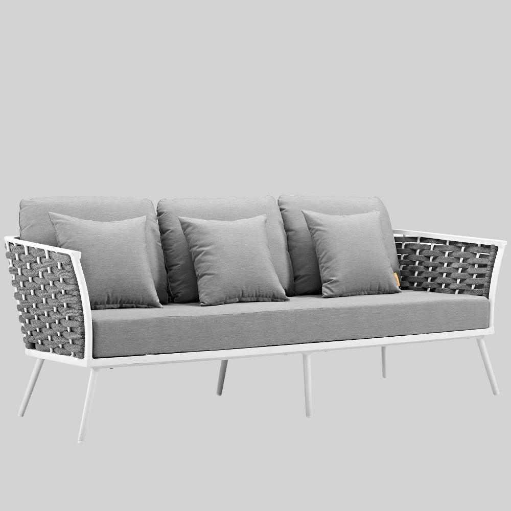 Stance Outdoor Patio Aluminum Patio Sofa Gray - Modway Gender: unisex.