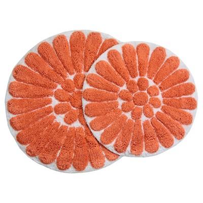 Bursting Flower 2 - Pc. Round Bath Rug Set Living Coral & White - Chesapeake Merch Inc.®