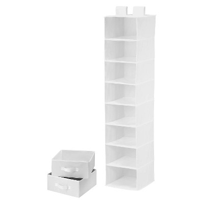 8 Shelf Organizer/2Drawers White