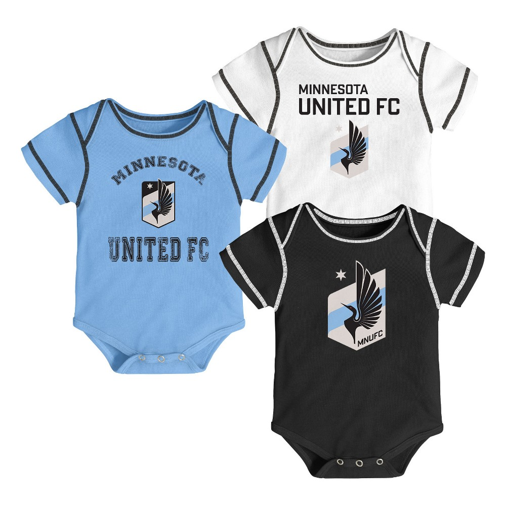 Youngest Fan 3pk Body Suit Set Minnesota United FC 3-6M, Boy's, Multicolored
