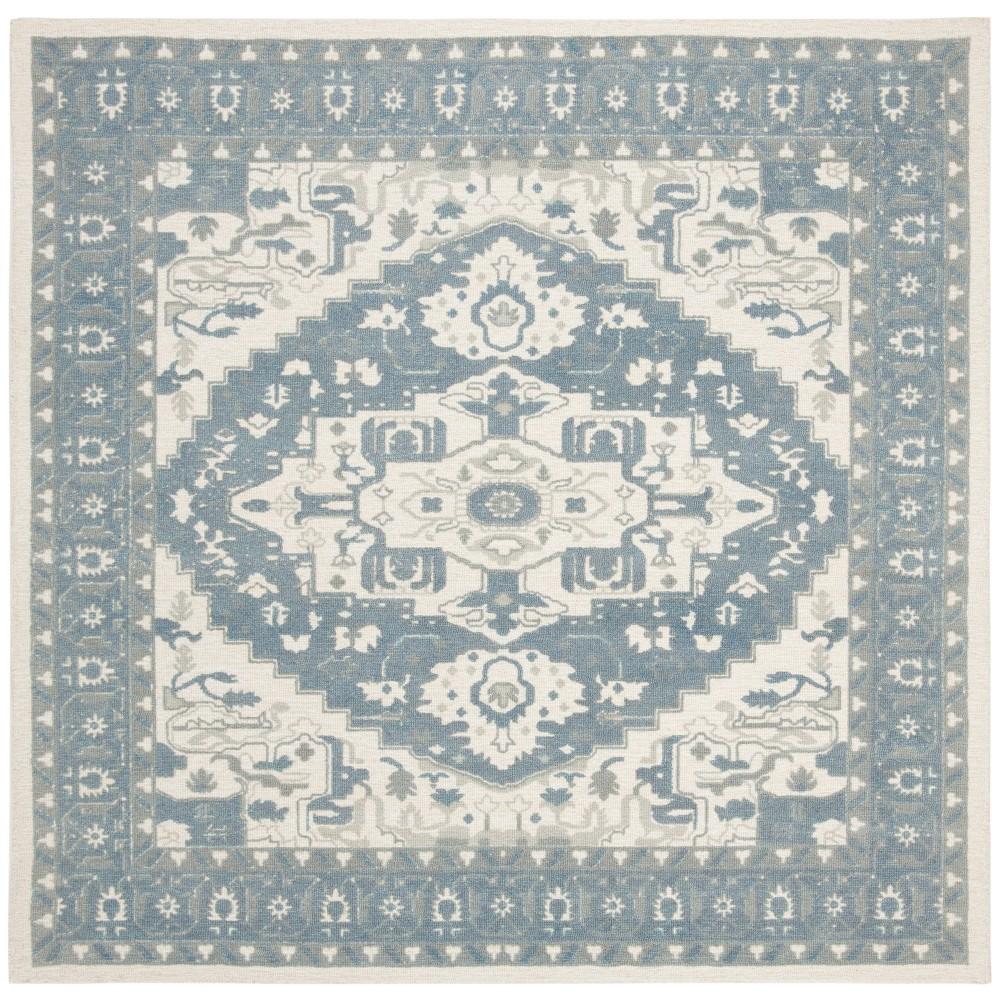 6'X6' Tufted Medallion Square Area Rug Ivory - Safavieh, White