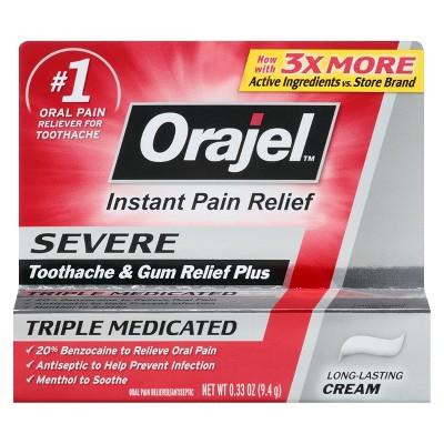 Orajel ™ Severe Triple Medicated Toothache & Gum Relief Plus Cream -.33oz