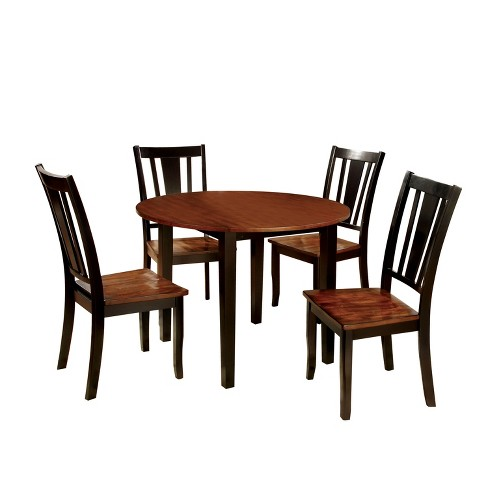 Sun Pine 5pc Curved Edge Round Dining Table Set Wood Cherry And