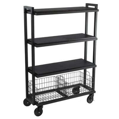Cart System with wheels 4 Tier Black - Atlantic