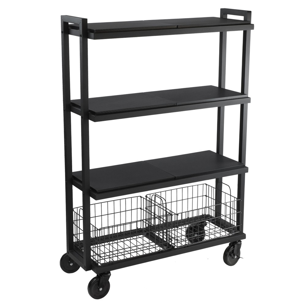 Image of Cart System with wheels 4 Tier Black - Urb Space