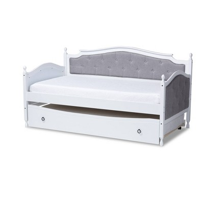 Twin Marlie Upholstered Daybed with Trundle Gray/White - Baxton Studio