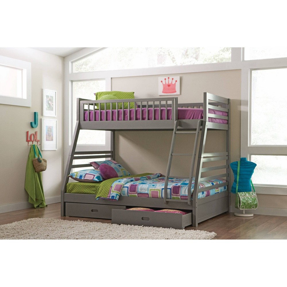 Twin/Full Carrington Bunk Bed with Storage Gray - Private Reserve
