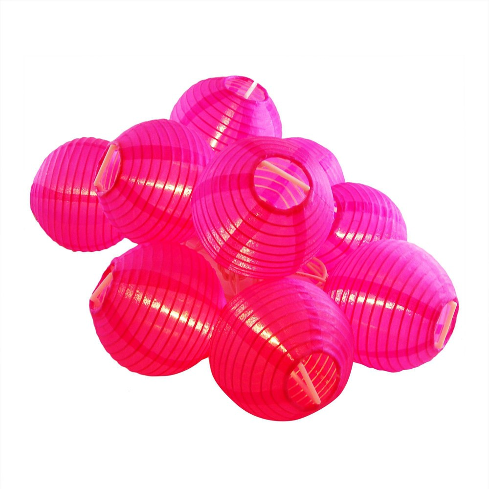 "Image of ""10ct 3"""" x 5' Fuchsia Electric String Light with Nylon Lanterns"""