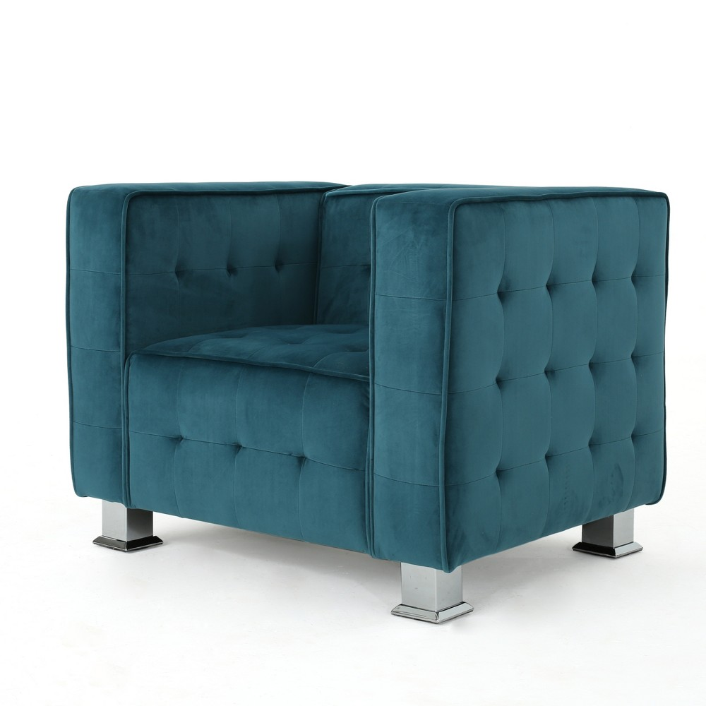 Boden New Velvet Tufted Arm Chair - Teal (Blue) - Christopher Knight Home