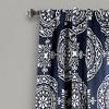 "Set of 2 52""x84"" Karmen Medallion Room Darkening Window Curtain Panels Navy - Lush Dcor - image 2 of 4"
