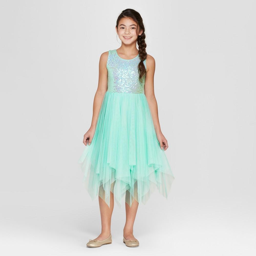 Girls' Sequin Dress - Cat & Jack Blue Xxl