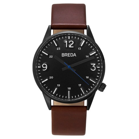 BREDA Men's 'Slate' 7017B Gun Metal and Brown Leather Strap Watch, 41MM - image 1 of 3