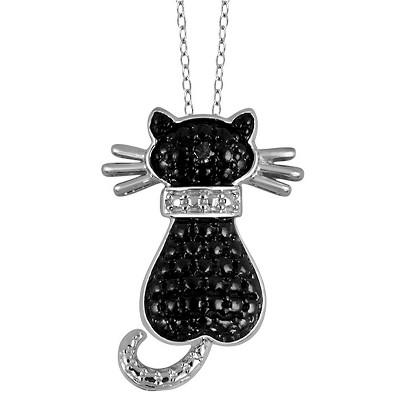 "Women's Sterling Silver Accent Round-Cut Black Diamond Pave Set Cat Pendant (18"")"