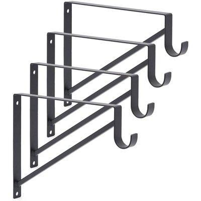 Okuna Outpost 4 Pack Metal Closet Rod Brackets (Black, 12.5 x 1 x 9.5 in)