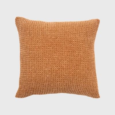 "20""x20"" Oversize Chenille Shiny Waffle Knit Square Throw Pillow Orange - Evergrace"