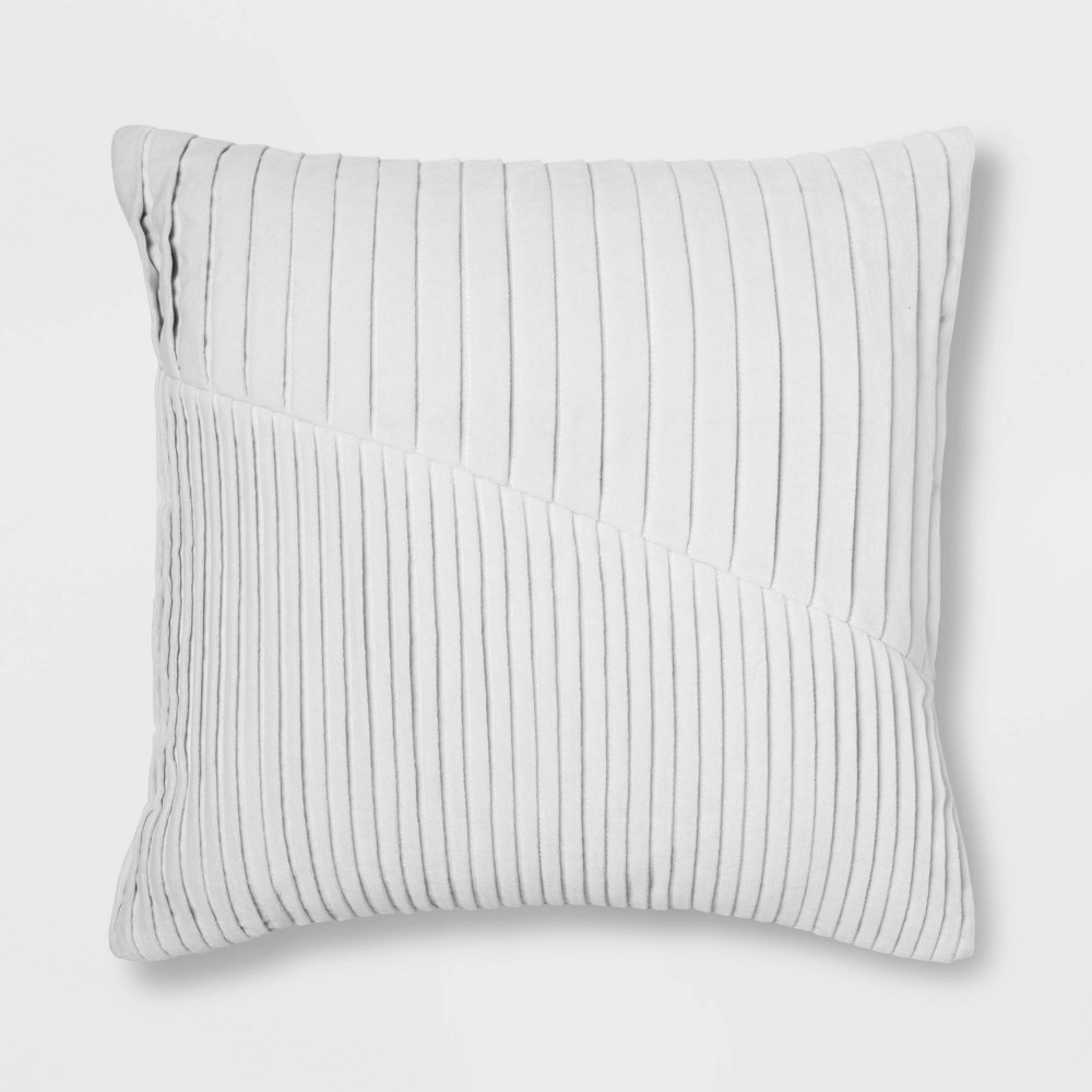 Pleated Velvet Square Throw Pillow Gray Project 62 8482