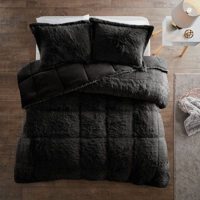Leena 3pc Shaggy Long Faux Fur Comforter Mini Set