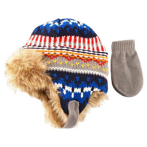Toddler Boys' Fairisle Trapper Hat and Mitten Set - Cat & Jack™ - Blue - image 1 of 1