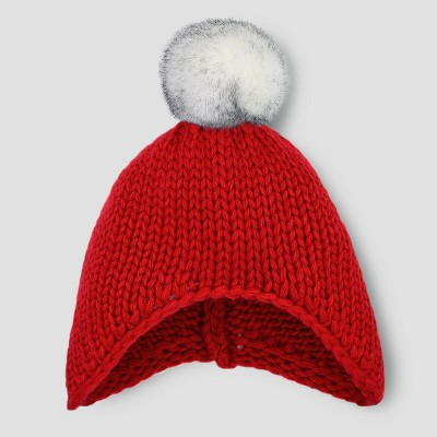 Baby Beanie with Faux Fur Pom - Cat & Jack™ Red 0-6M