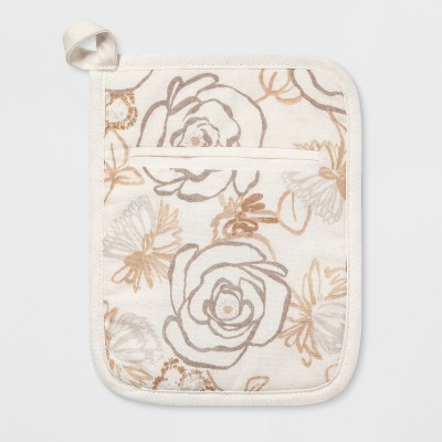 Floral Print Pot Holder White/Taupe - Threshold™