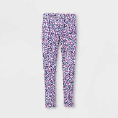 Girls' Floral Leggings - Cat & Jack™ Violet