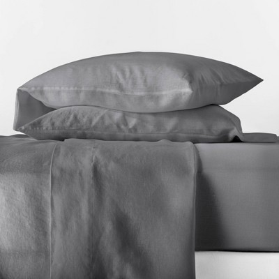 Queen 100% Linen Solid Sheet Set Dark Gray - Casaluna™