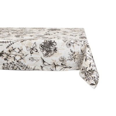 84 X60  Botanical Print Tablecloth Natural - Design Imports