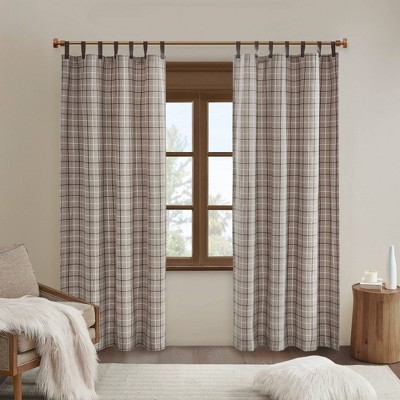 "84""x50"" Preston Plaid Faux Leather Tab Top Room Darkening Curtain Panel with Fleece Lining Brown"