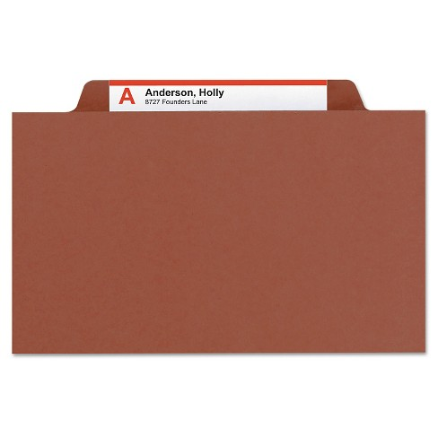 Smead® Pressboard Folders with Two Pocket Dividers, Letter, Six-Section, Red, 10/Box - image 1 of 5
