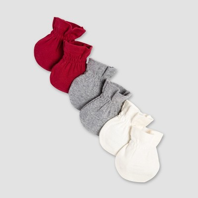 Burt's Bees Baby Organic Cotton 3pk Mittens - Red/Heather Gray/White