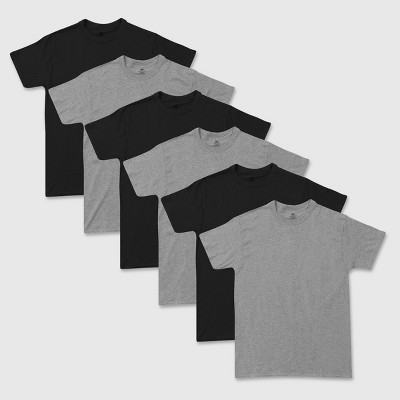 Hanes Red Label Men's Crew Dyed  6pk T-Shirt - Gray/Black