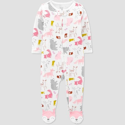 Baby Girls' Fox Interlock One Piece Pajama - Just One You® made by carter's Pink Newborn