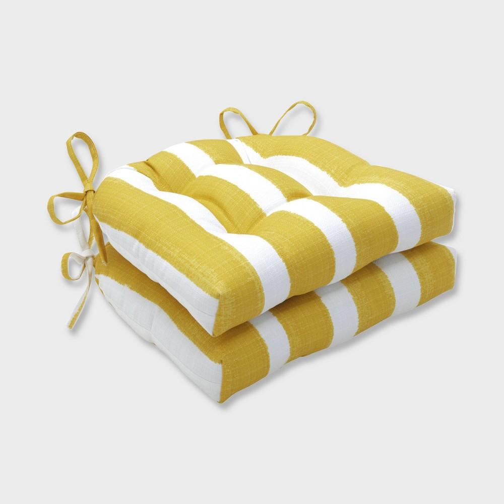 2pk Nico Pineapple Reversible Chair Pads Yellow - Pillow Perfect, Orange