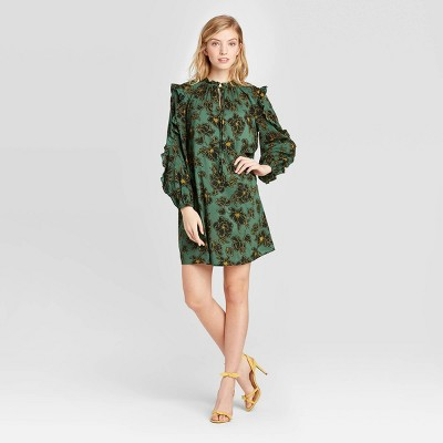 Women's Floral Print Long Sleeve Boat Neck Ruffle A Line Mini Dress   Who What Wear™ by Who What Wear