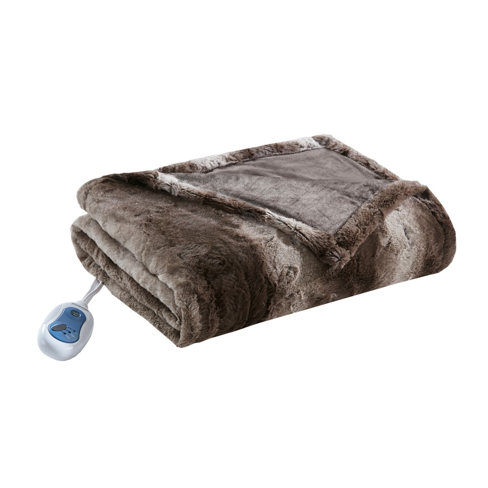 Marselle Oversized Faux Fur Electric Throw 50X70 Chocolate (Brown) - Beautyrest