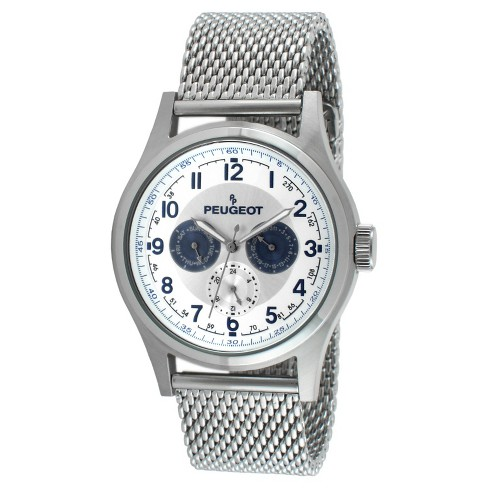 Men's Peugeot Stainless Steel Mesh Multifunction Watch - Silver - image 1 of 2