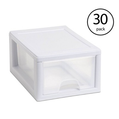Sterilite Small Clear Plastic Stackable Drawer with White Frame (30 Pack)