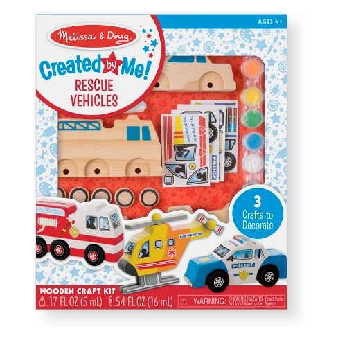 Melissa & Doug® Decorate-Your-Own Wooden Rescue Vehicles Craft Kit - Police Car, Fire Truck, Helicopter - image 1 of 5