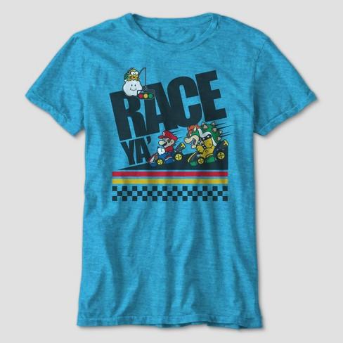 Boys' Super Mario Race Ya Short Sleeve Graphic T-Shirt - Light Blue - image 1 of 1