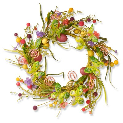"""24"""" Butterfly Garden Accents Easter Wreath - National Tree Company"""