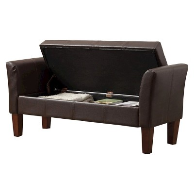 Homepop Faux Leather Settee Storage Bench   Brown : Target