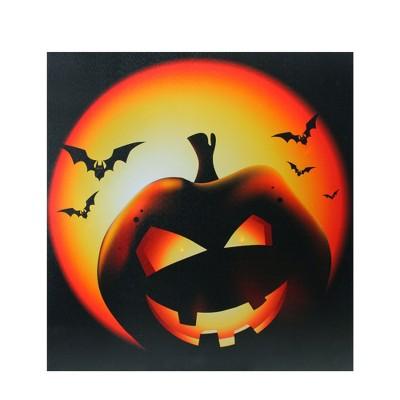 "Northlight LED Lighted Bats and Jack-O-Lantern Halloween Canvas Wall Art 19.75"" x 19.75"""
