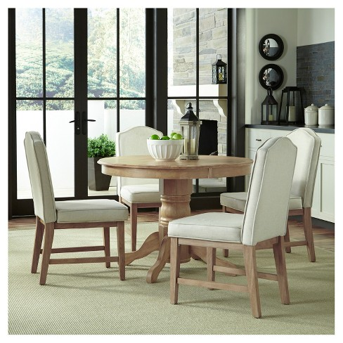 Michael 42 Round Dining Table With Set Of 4 Upholstered Chairs