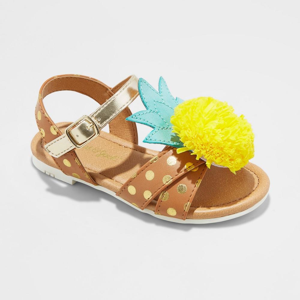 Toddler Girls' Gisela Pineapple Slide Sandals - Cat & Jack Cognac 12, Brown